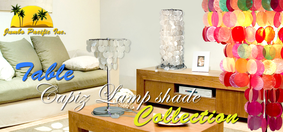 Phlippine Hand made products of table capiz lamp shades in variety of collection from capiz chips design and in different colors and sizes.